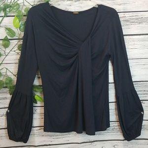 NWOT Eli Tahari bubble sleeve pleated chest blouse